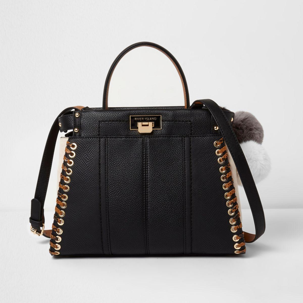 Black stitch side cross body tote bag