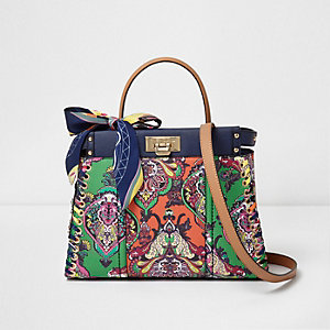 Green multi color baroque print tote bag