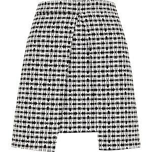 White and black check split front mini skirt