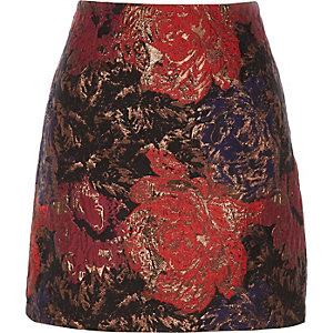 Rode jacquard minirok met A-lijn en bloemenprint