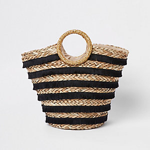 Black tassel stripe woven straw basket bag