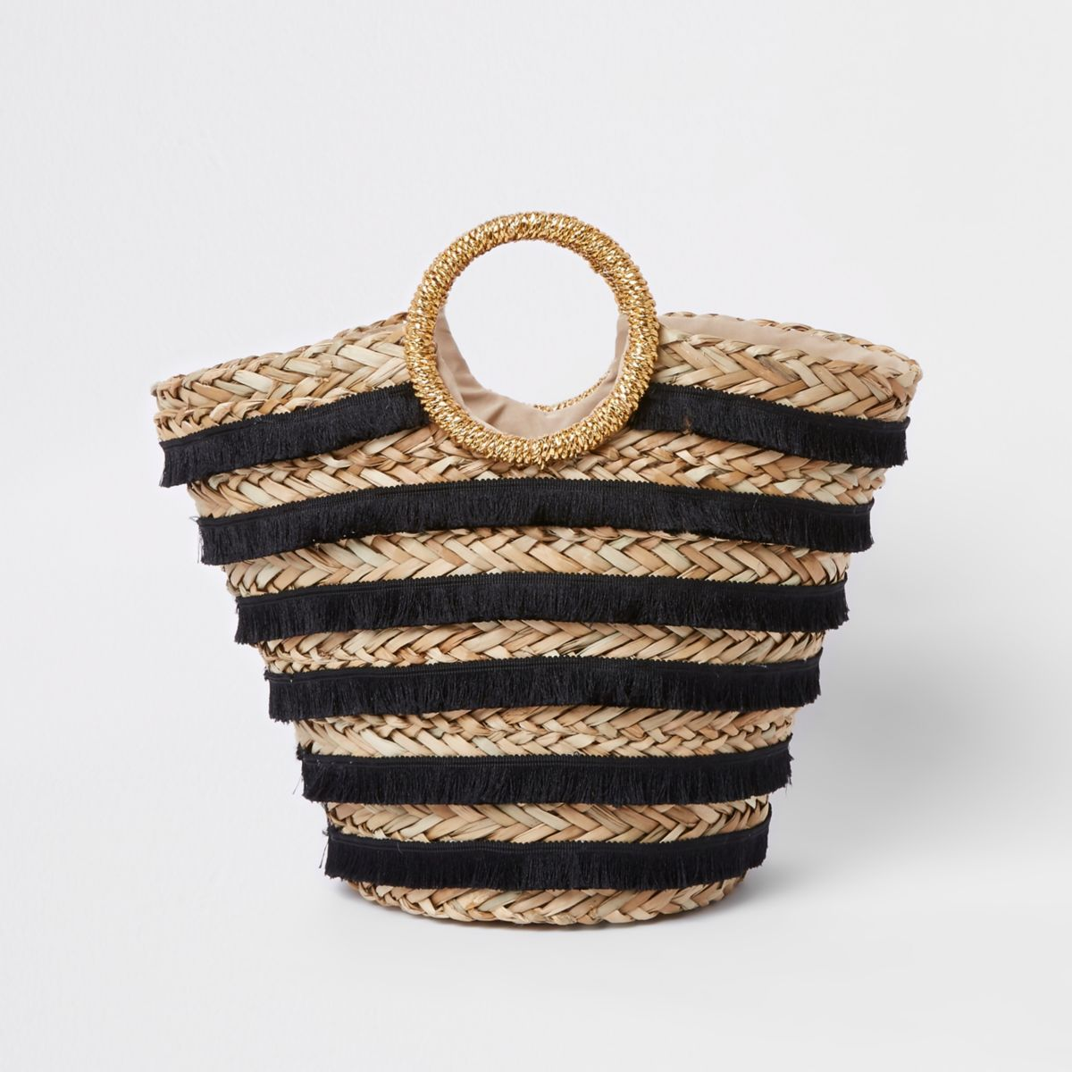 Black tassel stripe woven straw basket bag