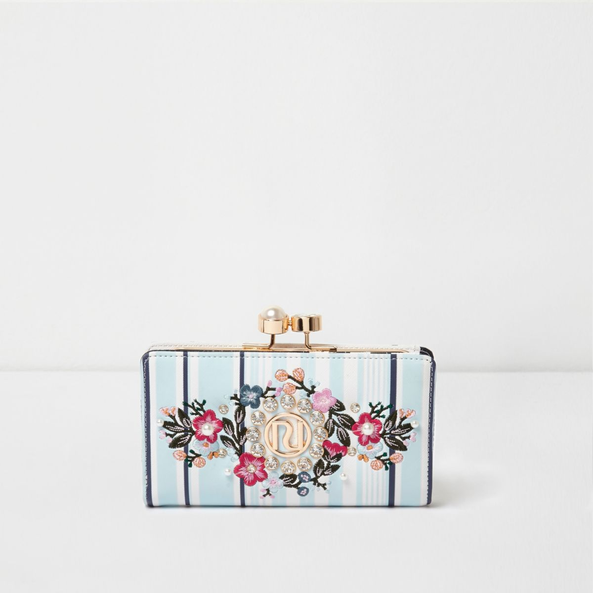 Blue stripe floral embroidered clip top purse