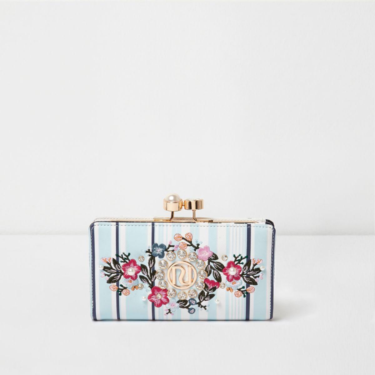Blauwe gestreepte geborduurde portemonnee met druksluiting en bloemenprint