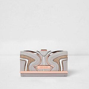 Grijze portemonnee met panelen en druksluiting