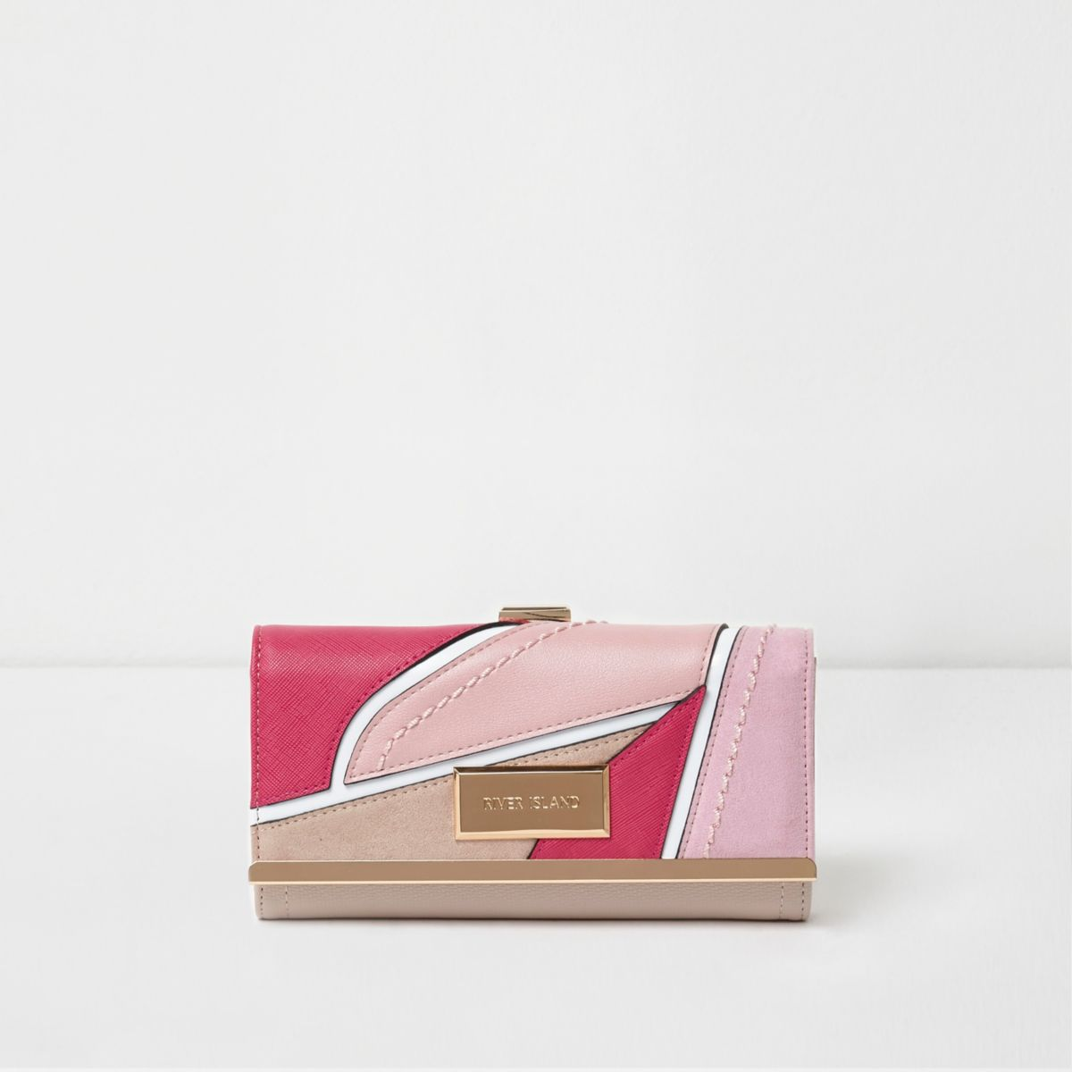 Pink cutabout panel clip top purse