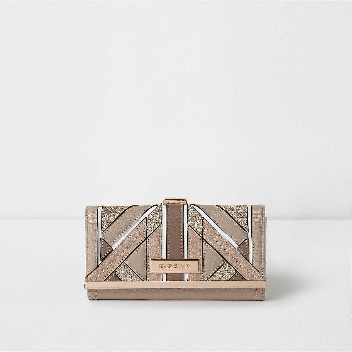 Beige textured glitter clip top purse