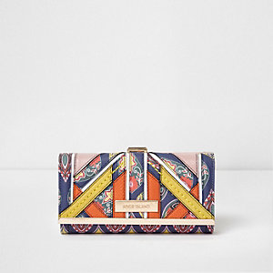 Navy panelled print clip top purse