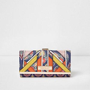 Marineblauwe portemonnee met druksluiting en panelen met print