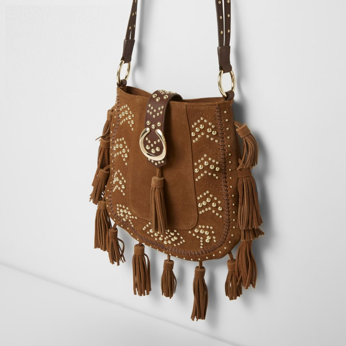 Tan studded tassel suede cross body bag