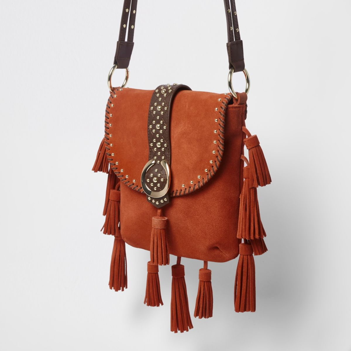 Orange studded tassel suede cross body bag
