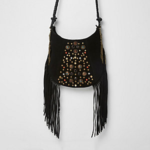 Black suede studded fringe cross body bag