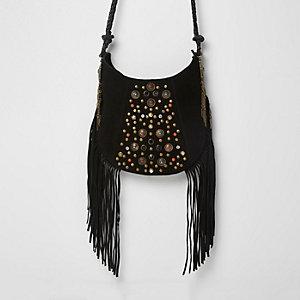 Black suede studded fringe cross body bag