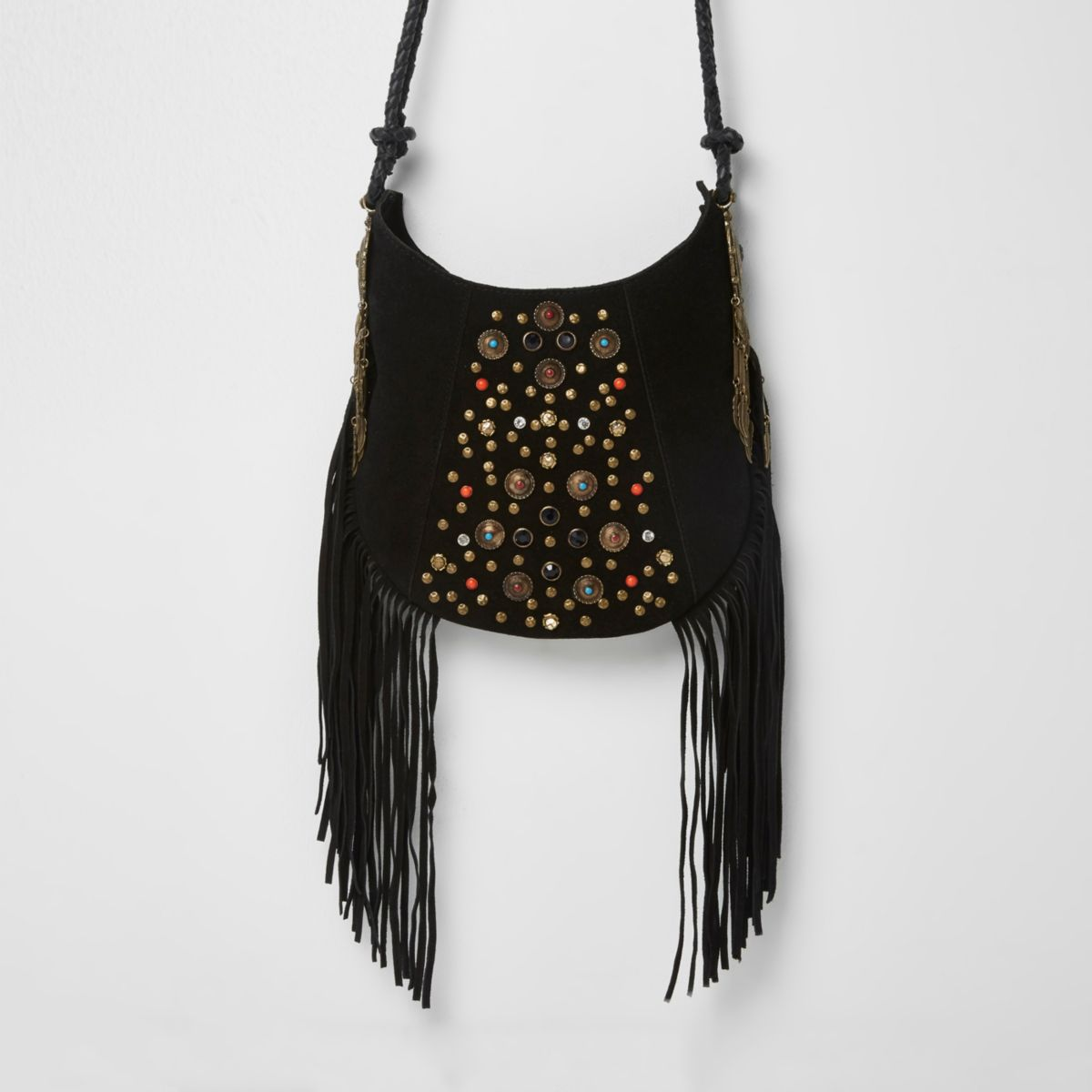 Studded Crossbody Bag With Fringe