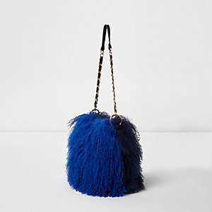 Blue mongolian fur mini cross body chain bag