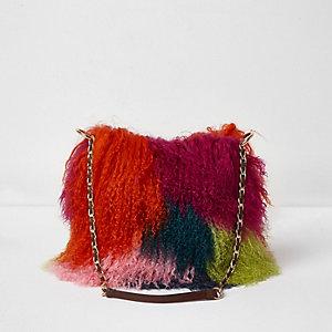 Roze kleine tas met ketting en meerkleurig harig bont