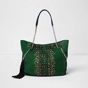 Green suede embellished chain slouch tote bag