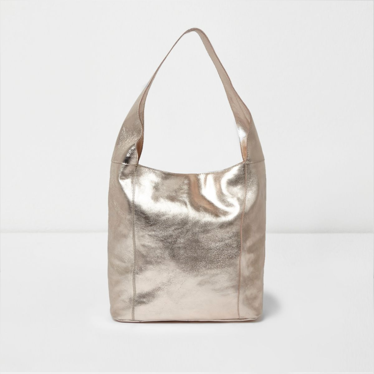 Gold metallic leather underarm slouch bag