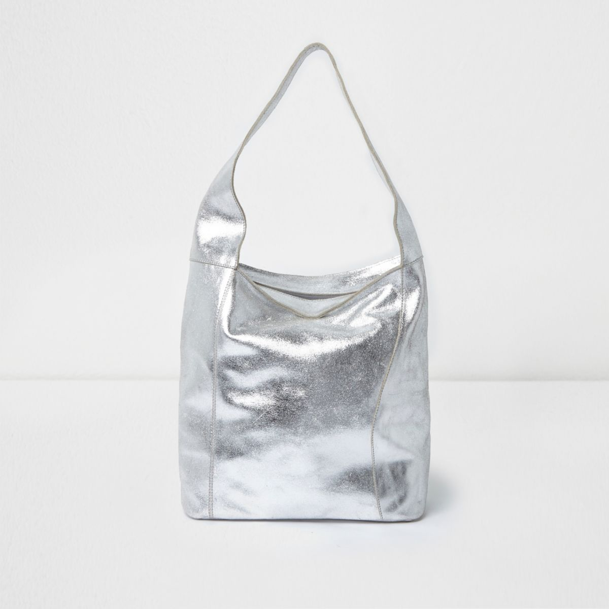 Silver metallic leather underarm slouch bag