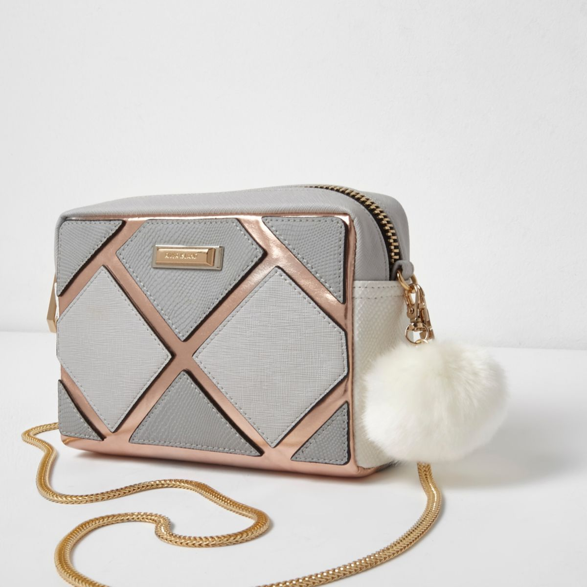 Grey metallic cutabout boxy crossbody bag