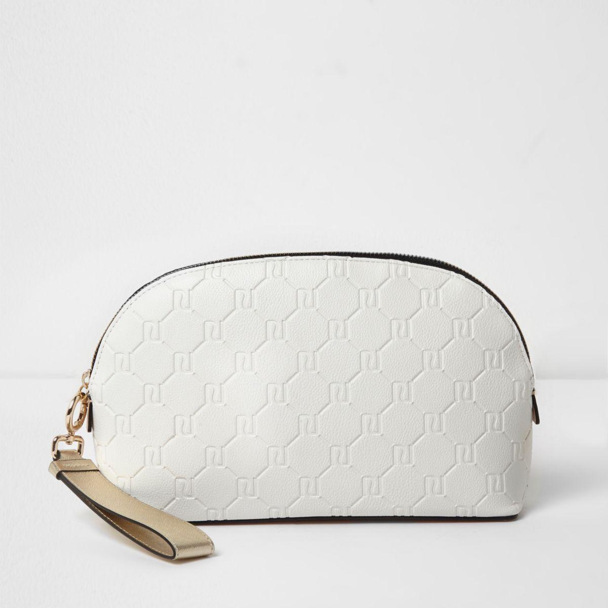 White RI embossed make-up bag