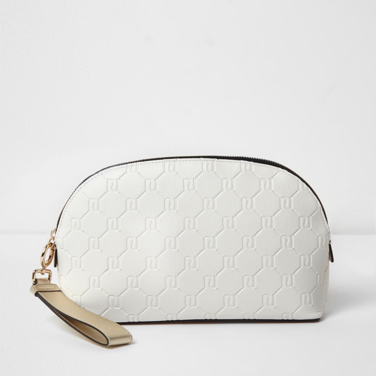 White RI embossed make-up bag