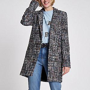 Navy boucle knit longline blazer