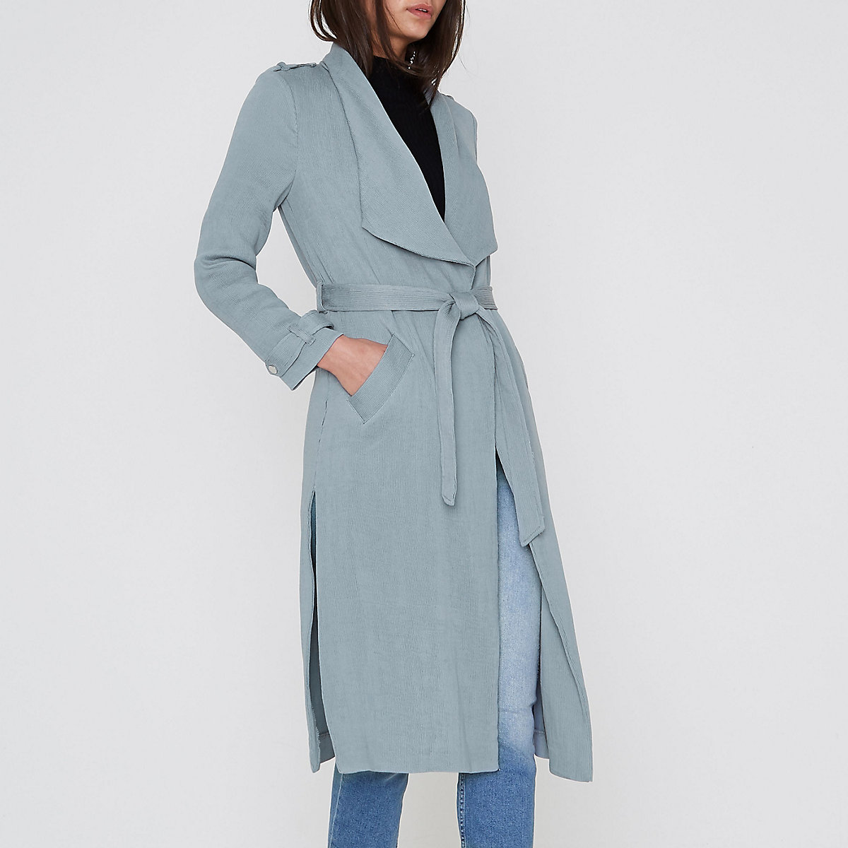 Grey belted duster trench coat
