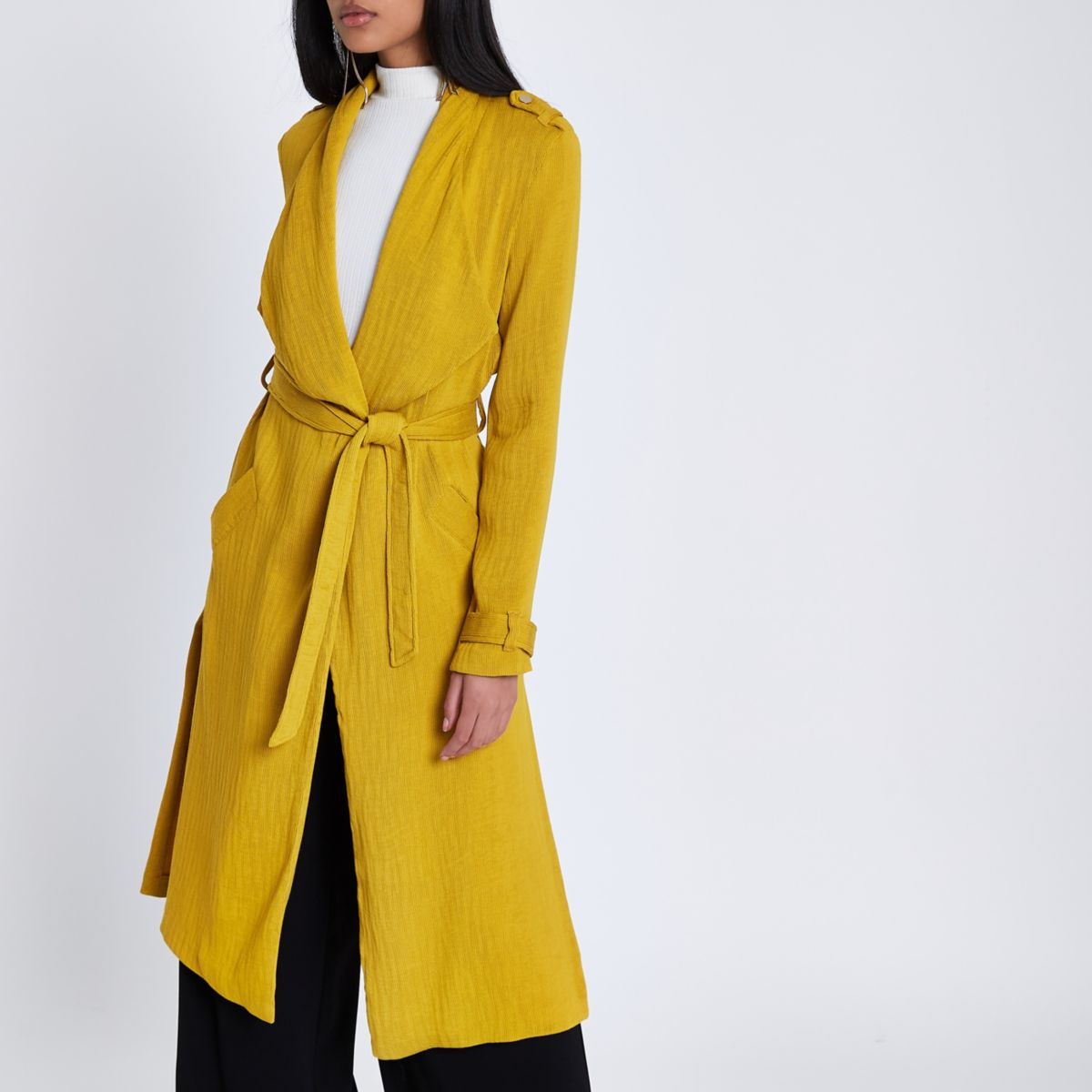 Mustard yellow belted duster trench coat