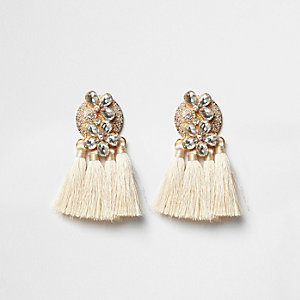 Cream jewel tassel drop earrings