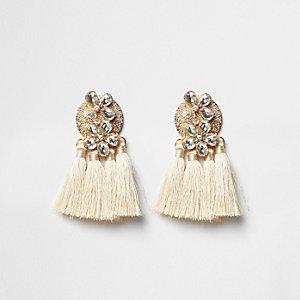 Cream jewel tassel drop earrings
