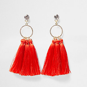 Red tassel rhinestone pave circle earrings