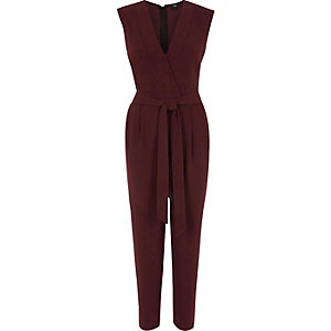 Burgundy tailored jumpsuit