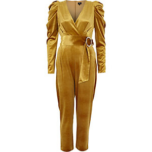Yellow velvet puff sleeve belted jumpsuit