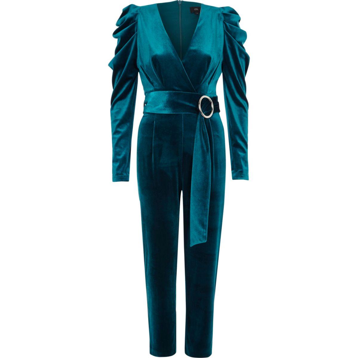 Turquoise blue puff shoulder velvet jumpsuit