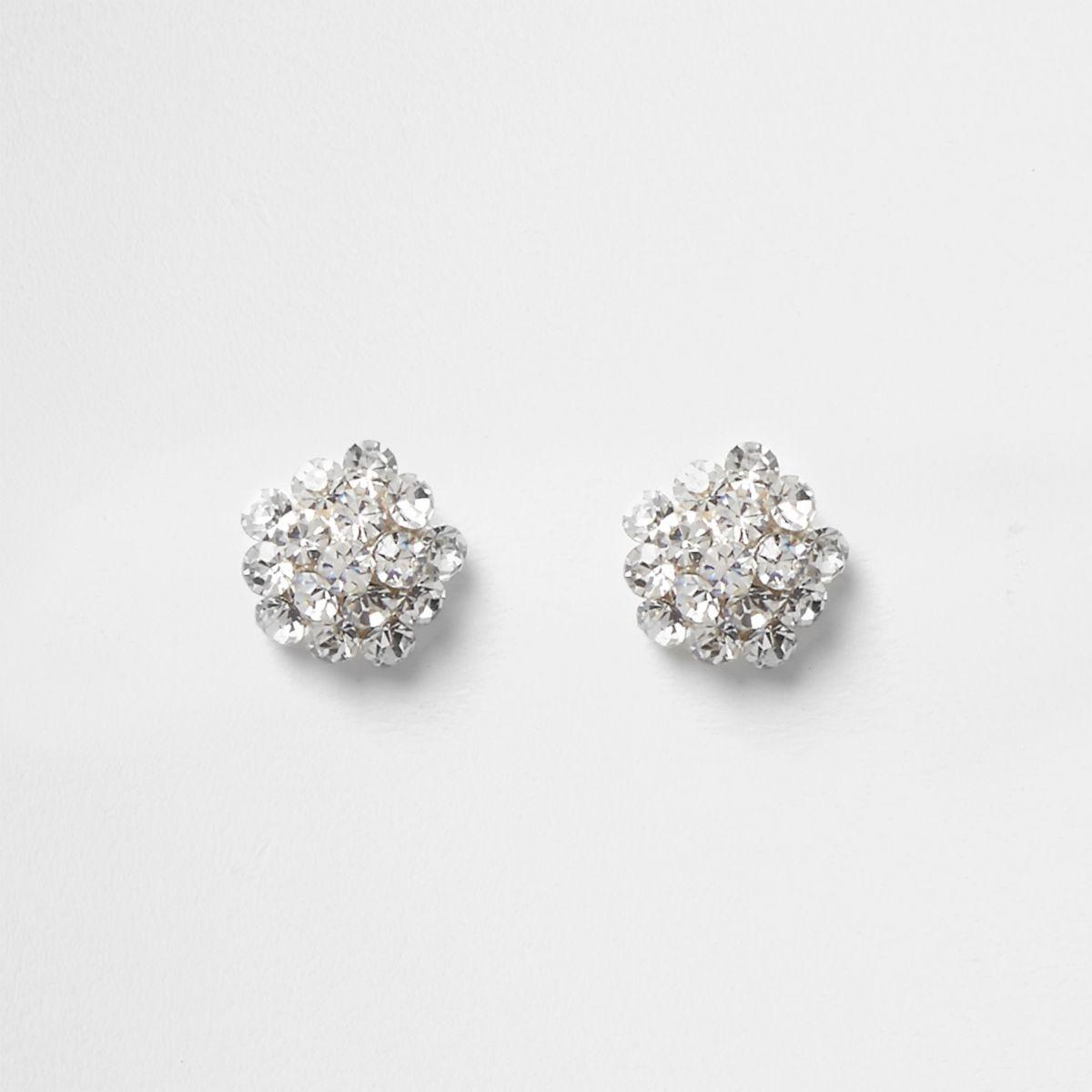 Silver tone rhinestone cluster stud earrings