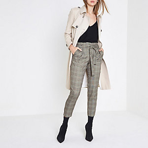 Grey check glitter tie waist tapered trousers