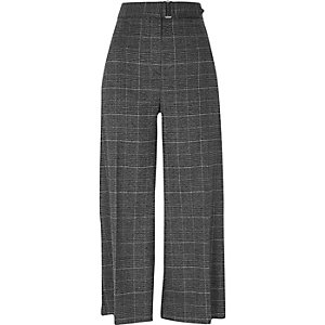 Grey glitter check belted culottes