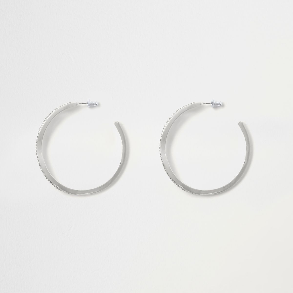 Silver tone diamante pave twist hoop earrings