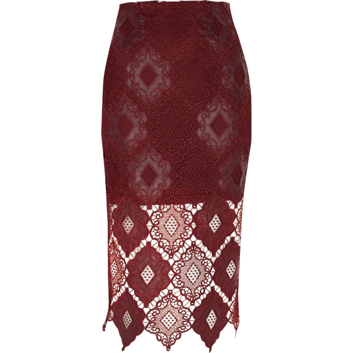 Dark red lace scallop pencil skirt