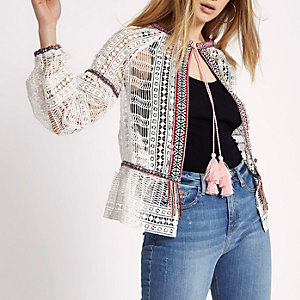 White crochet lace tassel tie neck jacket