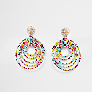 Red multicolored beaded circle drop earrings