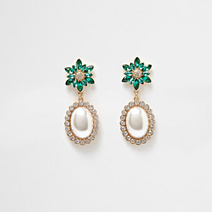 Gold tone emerald faux pearl dangle earrings