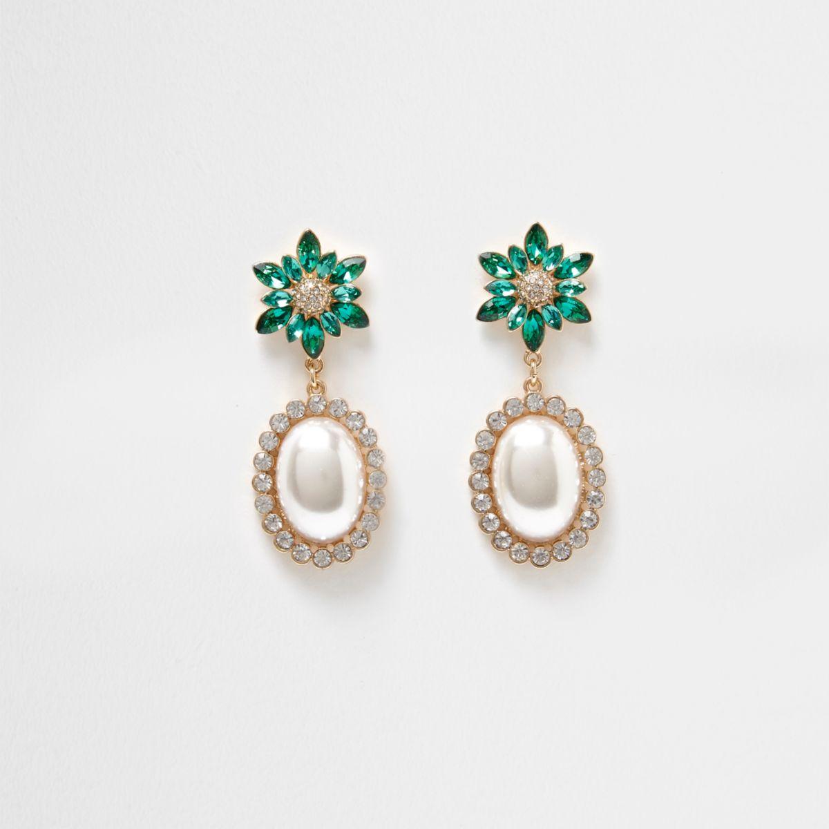 Gold tone emerald faux pearl dangle earrings