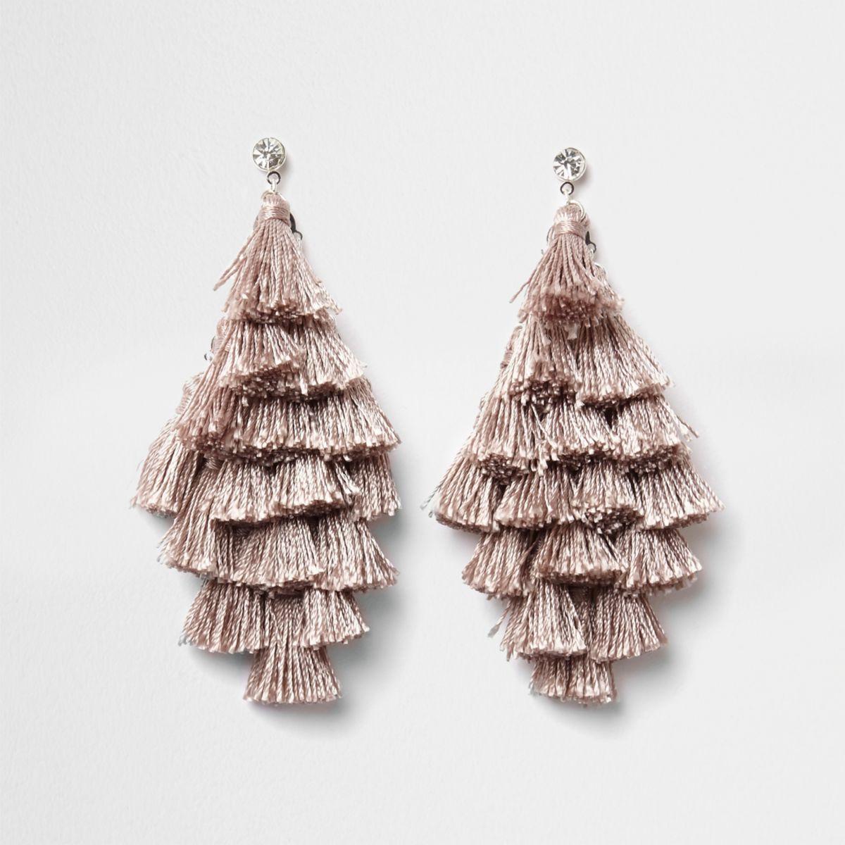 Nude tassel drop earrings