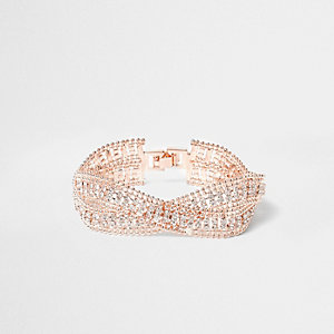 Rose gold tone wavy double band bracelet