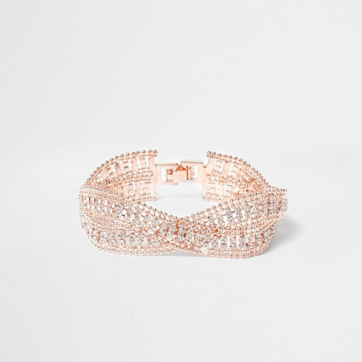 Rose gold tone wavy double band bracelet
