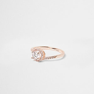 Rose gold tone rhinestone pave ring
