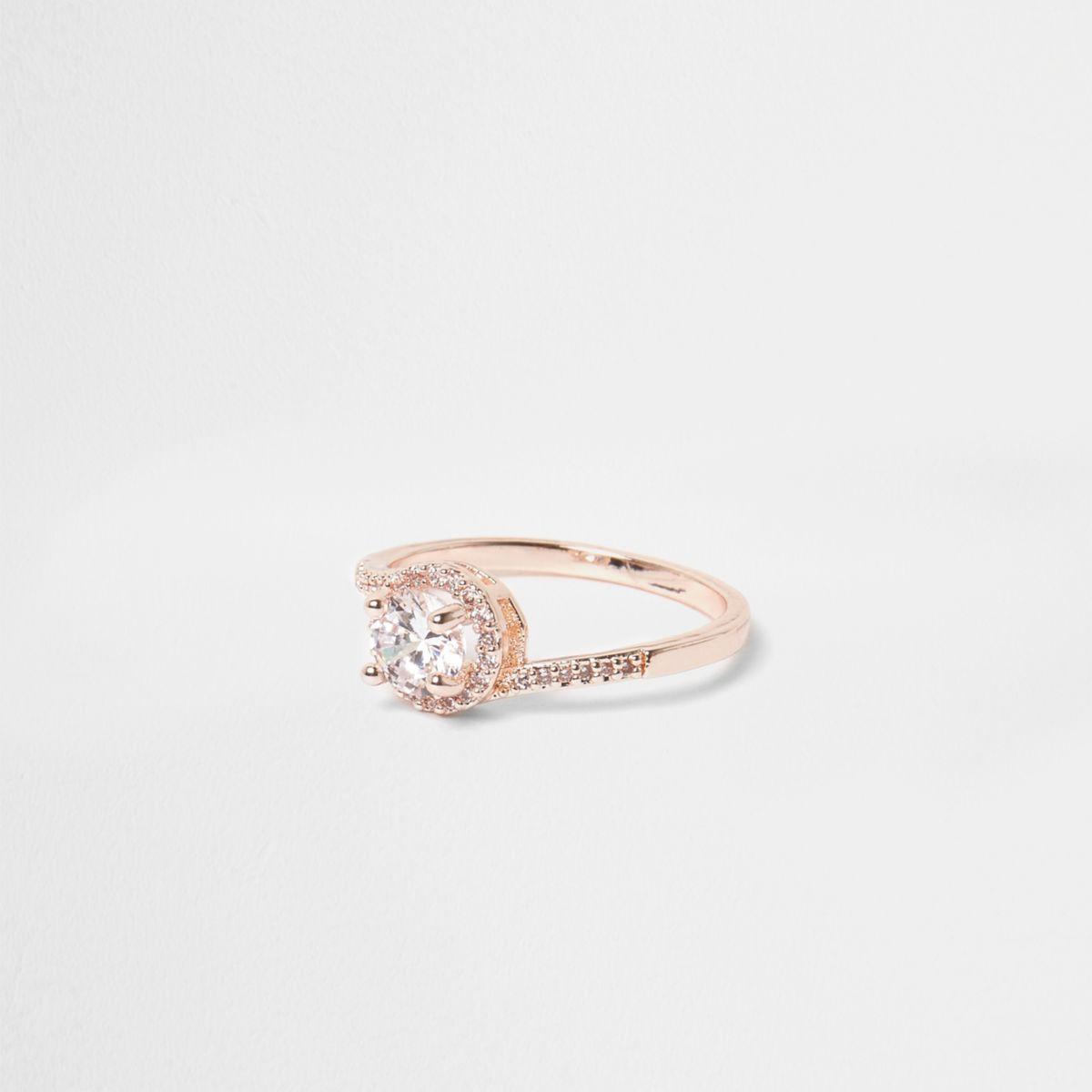 Rose gold tone rhinestone pave ring