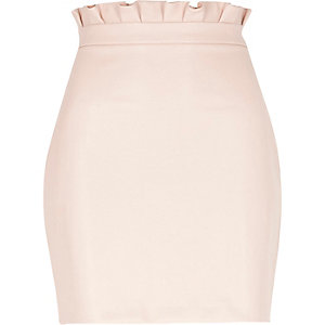 Light pink paperbag faux leather mini skirt